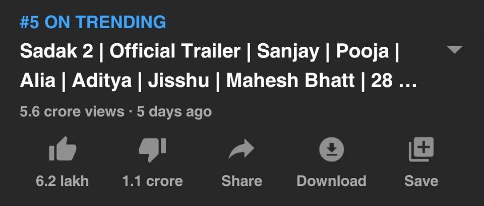 Sadak 2 Trailer: Most Disliked YouTube Video In India.